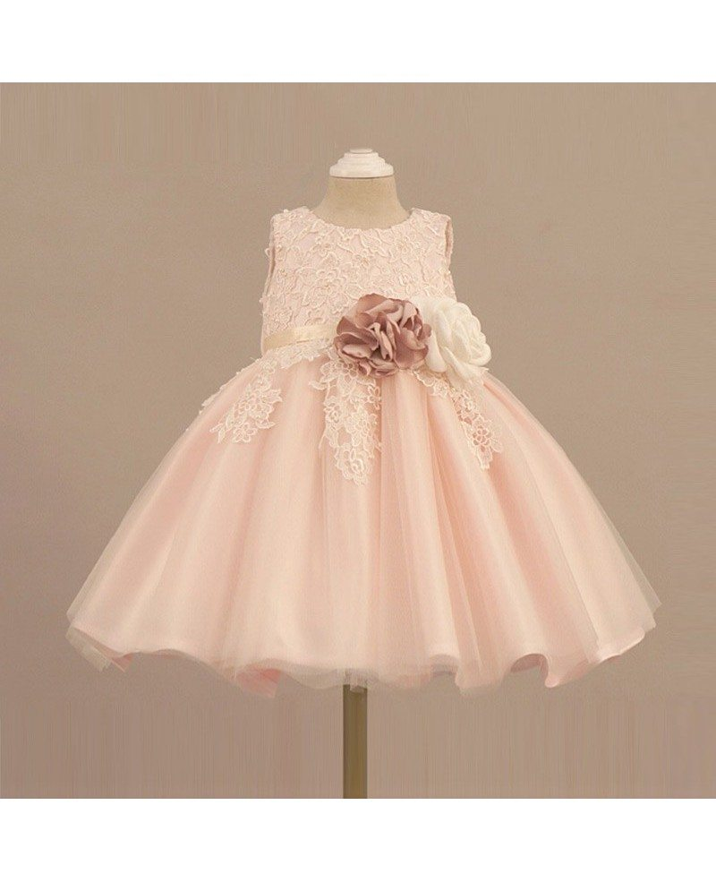 Vintage lace blush pink flower girl dress with flowers for Flower girls wedding dresses