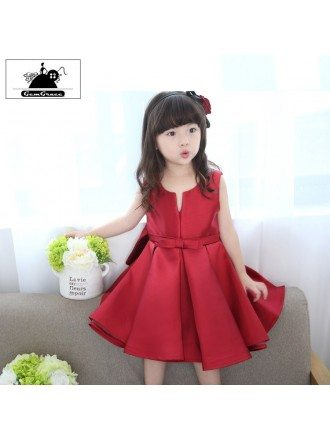 Simple Chic Satin Couture Flower Girl Dress Short For Weddings
