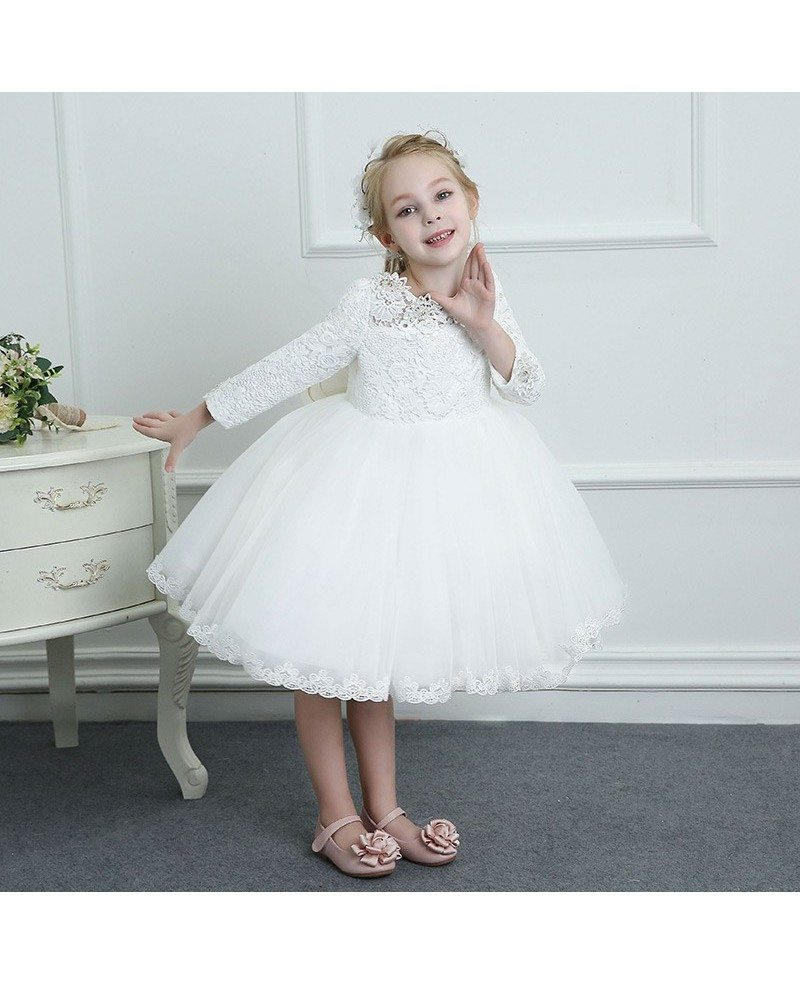 Couture White Lace Long Sleeve Flower Girl Dress Wedding Dress ...