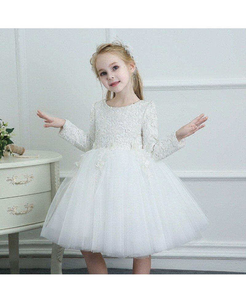 White Spring Tutus Flower Girl Dress Tulle Long Sleeves For Winter