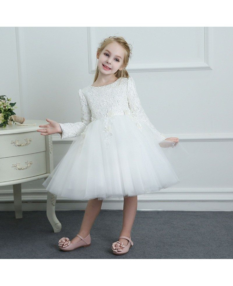 White Spring Tutus Flower Girl Dress Tulle Long Sleeves For Winter