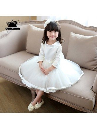 Unique Round Neck Princess Flower Girl Pageant Dress With Sleeves