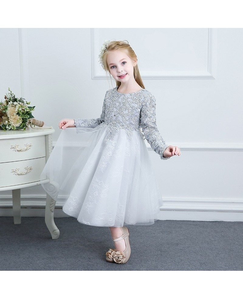 Beaded Grey Lace Couture Flower Girl Dress Spring Weddings With Long Sleeves #TG7039 - GemGrace.com
