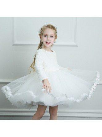 Vintage Ivory Beaded Lace Trim Flower Girl Dress Spring Girls Pageant Dress