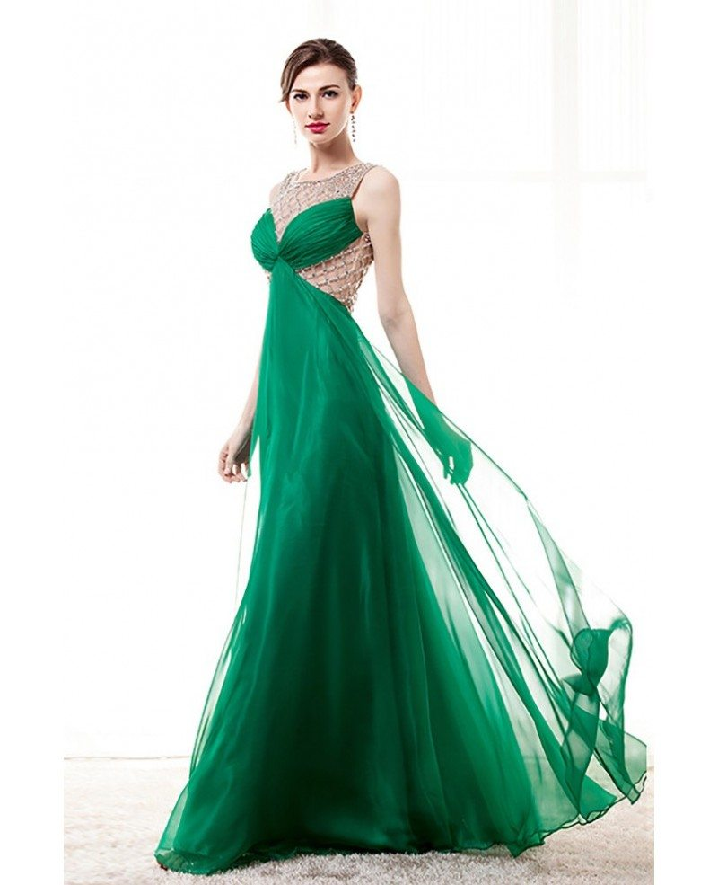 Unique Green Long Chiffon Prom Dress With Beading Grids Bodice ...