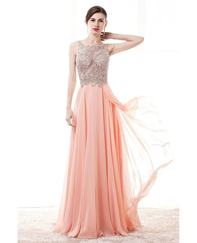 Gorgeous Pink A Line Prom Dress With Sheer Beading Top # ...