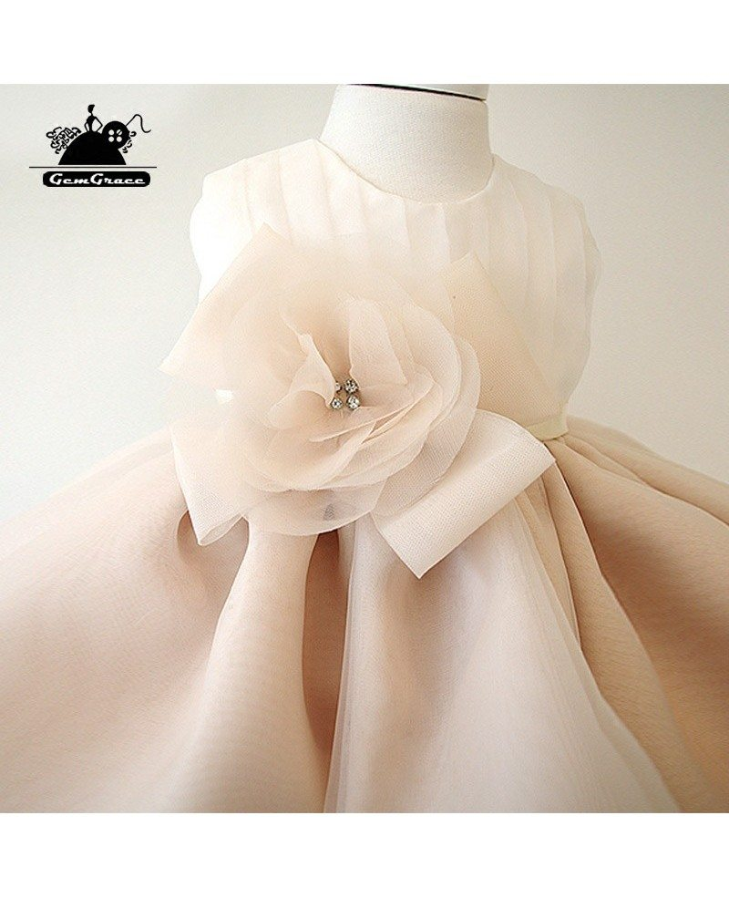 vintage champagne princess couture flower girl dress