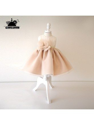 Vintage Champagne Princess Couture Flower Girl Dress Toddler Girls Pageant Gown