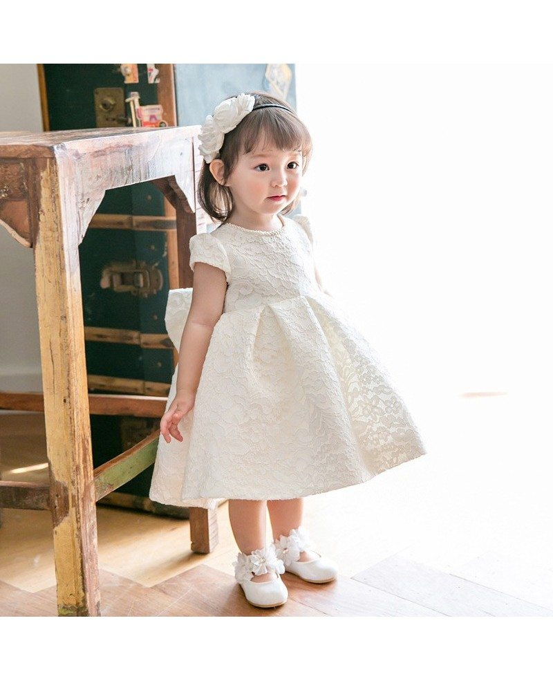 Cream White Lace Couture Flower Girl Dress With Bow Pageant Gown For