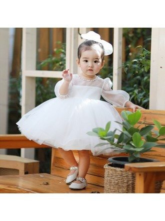 Super Cute White Tutu Flower Girl Dress With Bubble Sleeves