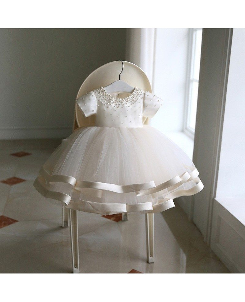 High end beaded ivory puffy flower girl dress pageant gown for High end wedding dress
