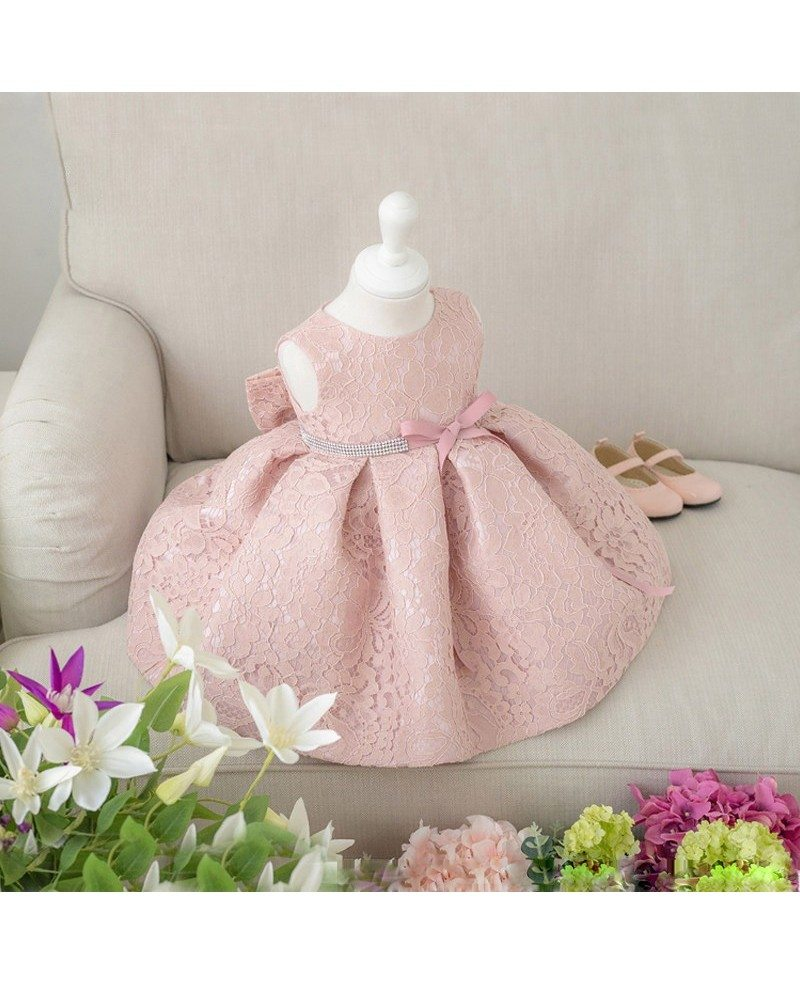 Blush Pink Lace Flower Girl Dress With Bow Toddler Girls Pageant