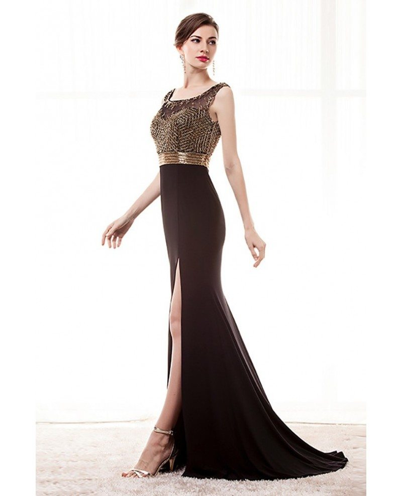 Beaded Black Tight Formal Dress With Slit Front For Women #H76066 ...