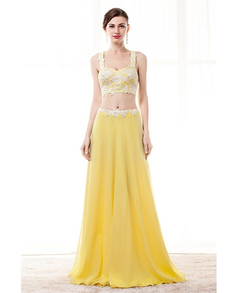 2 Piece Yellow Semi Formal Dress Crop Top With Lace Beading #H76067 ...