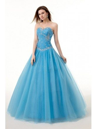 Ocean Blue Ballgown Beaded Sweetheart Long Tulle Prom Dress