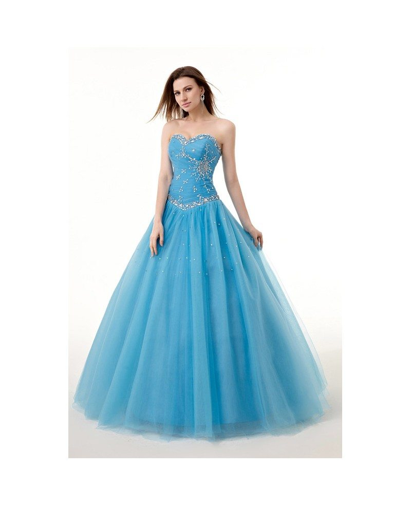 Ocean Blue Ballgown Beaded Sweetheart Long Tulle Prom
