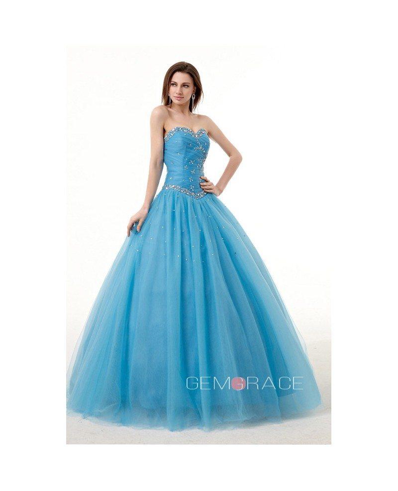 Ocean Blue Ballgown Beaded Sweetheart Long Tulle Prom Dress #CH0080B ...