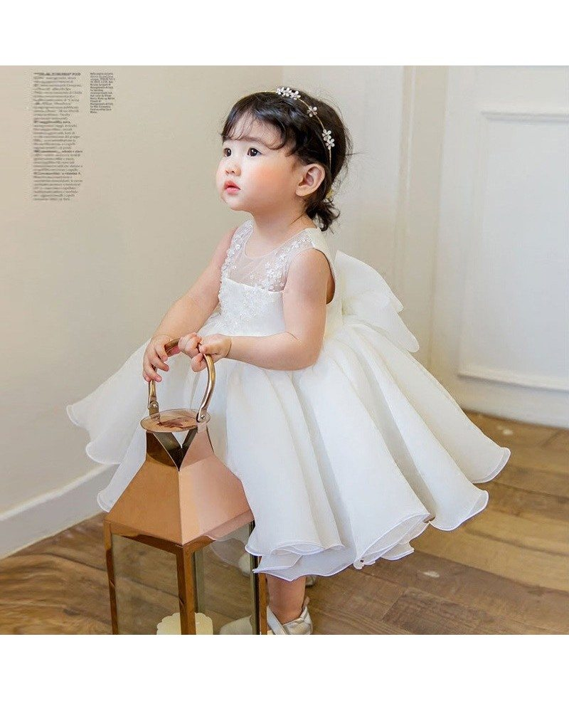 Couture White Princess Flower Girl Dress Ballgown Toddler Pageant