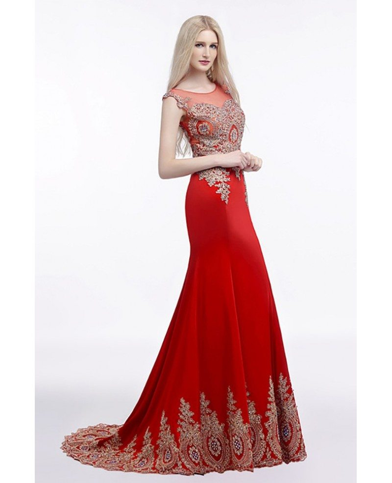 2018 Fit And Flare Red Prom Dress Long With Applique Lace H76070