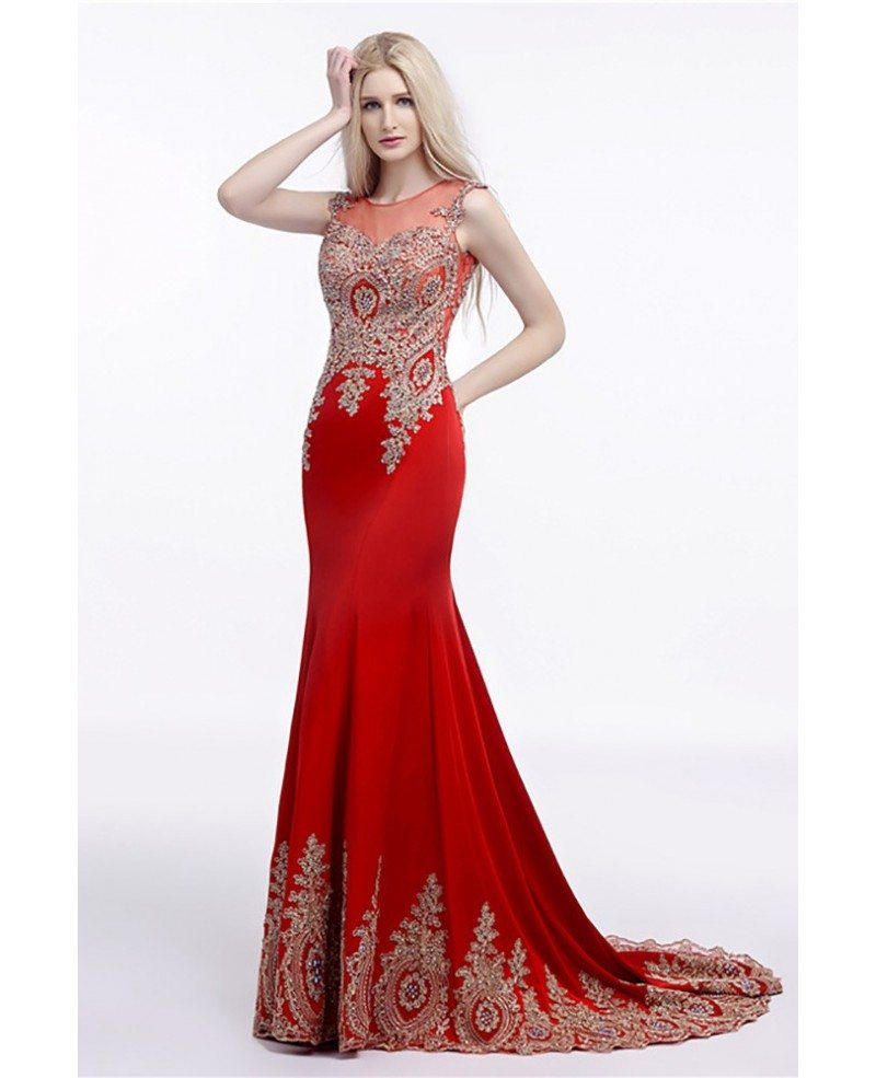 2018 Fit And Flare Red Prom Dress Long With Applique Lace #H76070 ...