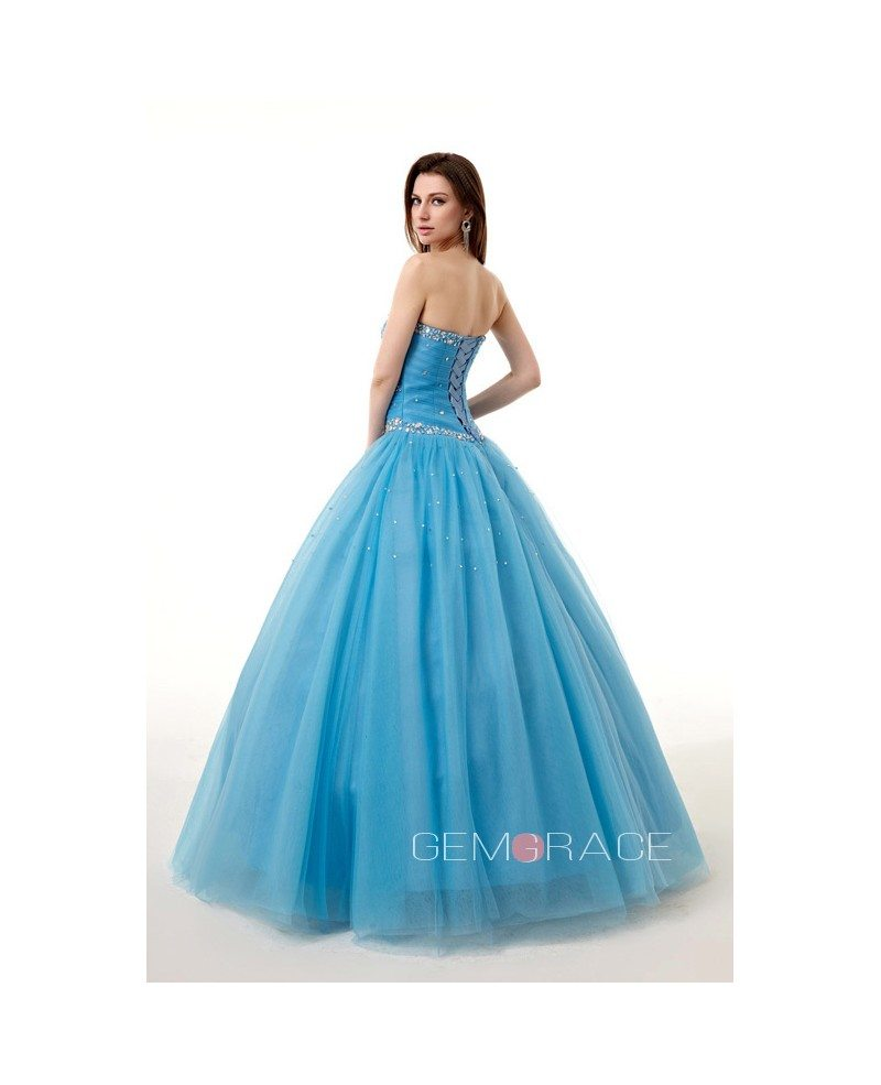 Ocean Blue Ballgown Beaded Sweetheart Long Tulle Prom Dress #CH0080B ...