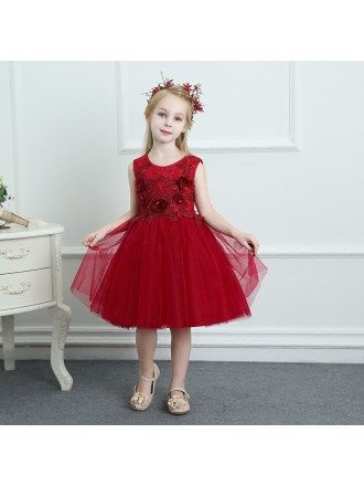 Burgundy Sleeveless Tulle Girls Pageant Gown Performance Party Dress