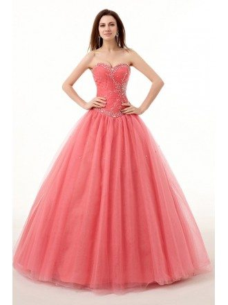 Red Ballgown Beaded Sweetheart Long Tulle Prom Dress