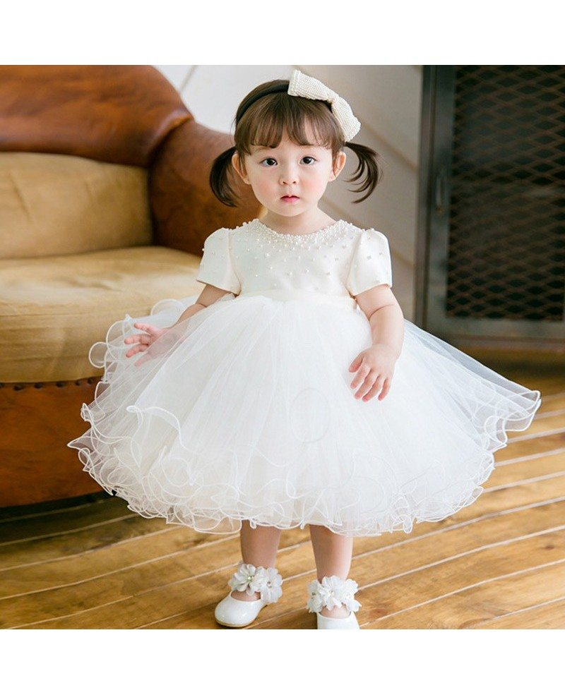 Lovely Princess White Puffy Beaded Flower Girl Dress With Short