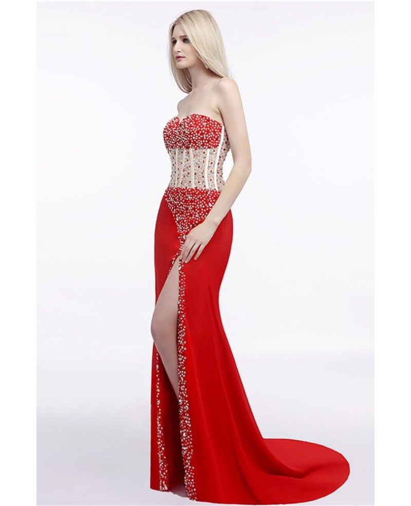 Sparkly Sequined Slit Prom Dress Strapless Red For Women # ...
