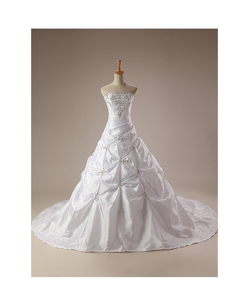 Train Length Embroidered Taffeta Strapless Wedding Dress #CH0067 ...