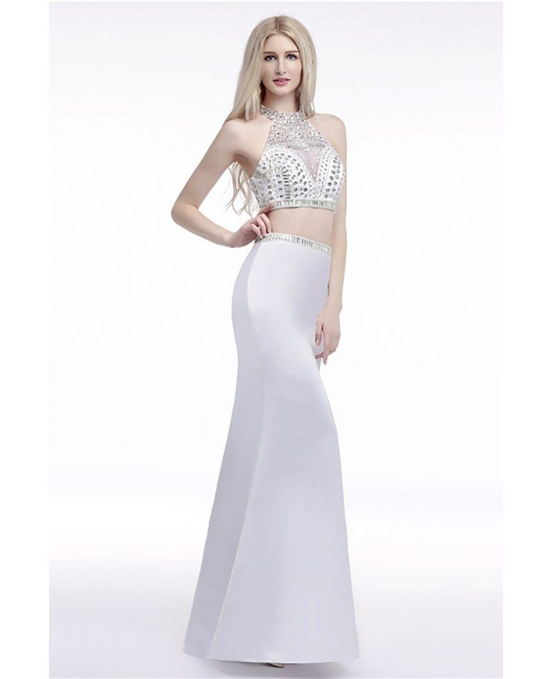 Backless Halter Crop Top Prom Dress White 2 Piece With ...
