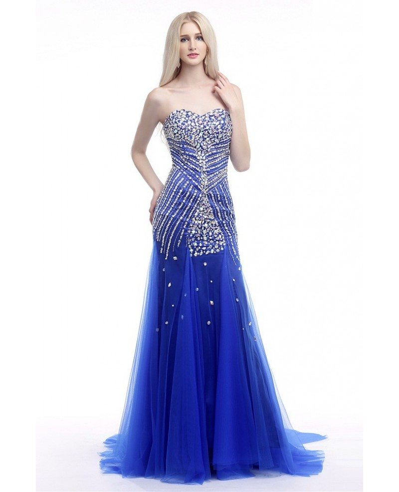 Elegant Fit And Flare Formal Dress Royal Blue With Shiny Crystals