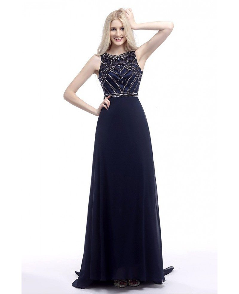 2018 Elegant Navy Blue Prom Dress Long With Glitter Crystals #H76075 - GemGrace.com