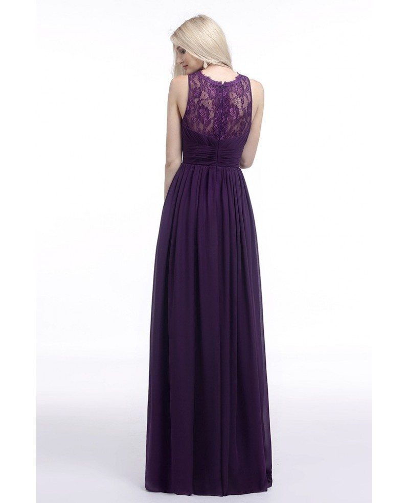 Flowy Chiffon Purple Prom Dress Long With Lace Sheer Top 2018 #H76077 - GemGrace.com