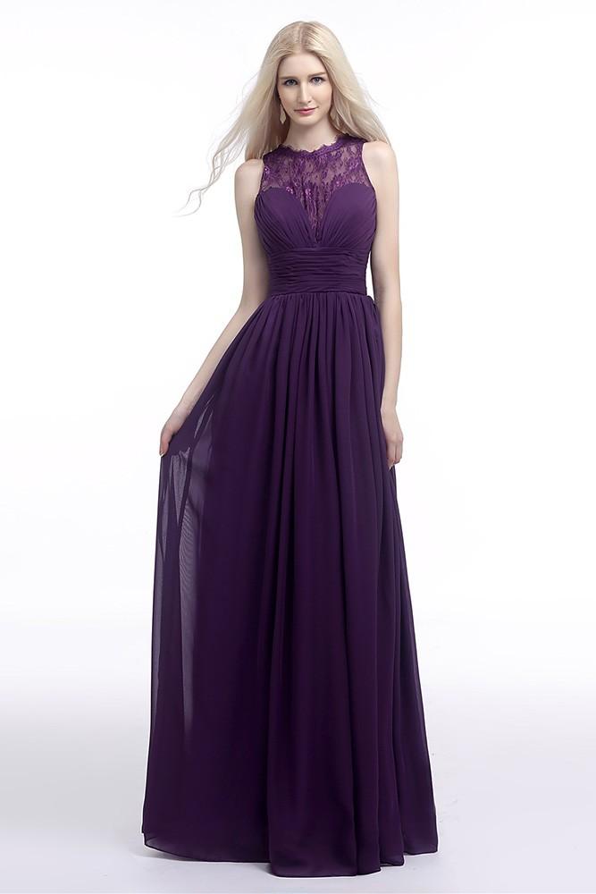 Flowy Chiffon Purple Prom Dress Long With Lace Sheer Top