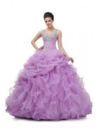Ball Gown Lilac Prom Dress With Beading Straps For Teens
