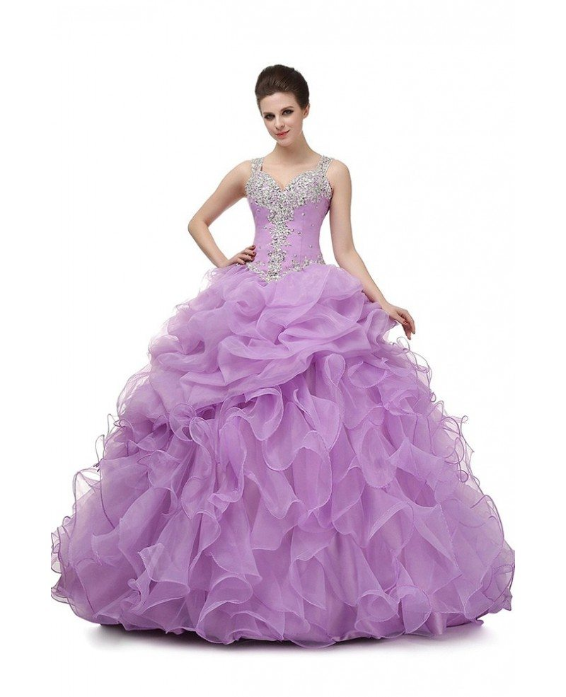 Ball Gown Lilac Prom Dress With Beading Straps For Teens #H76078 ...
