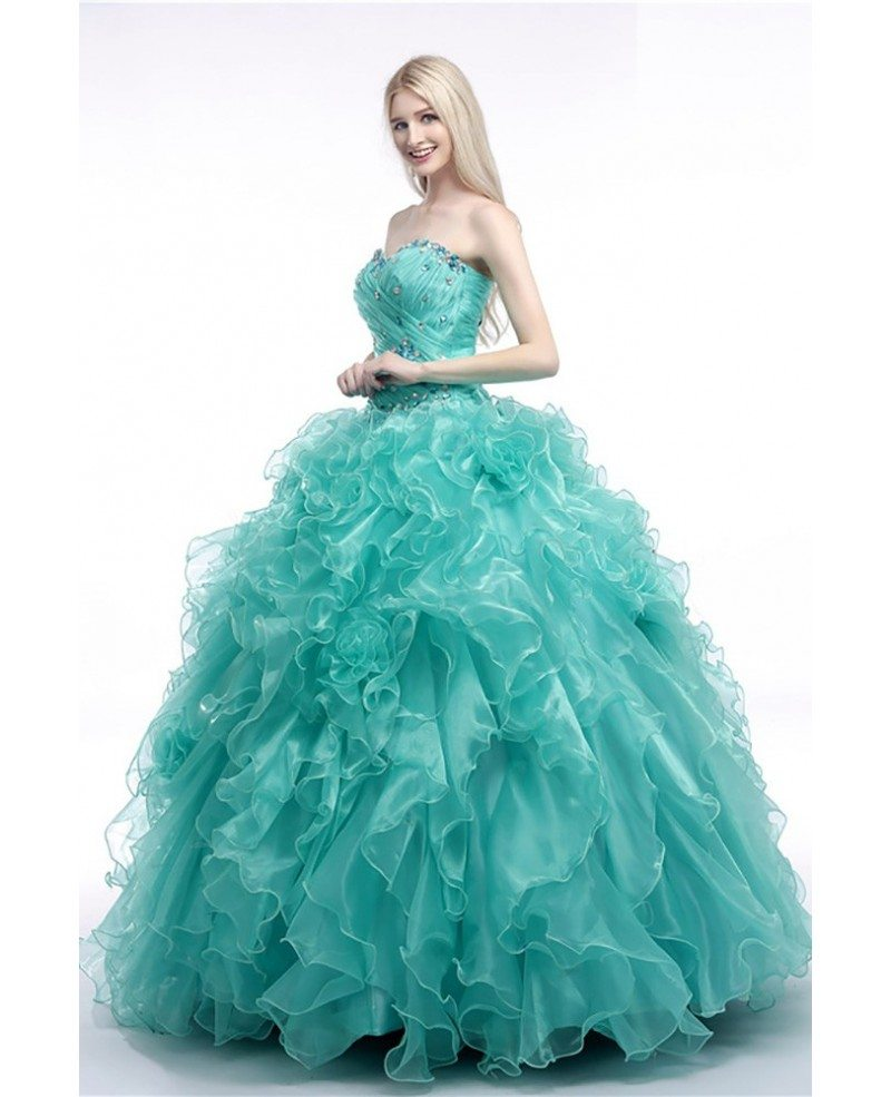 Turquoise Ball Gown Prom Dress With Cascading Ruffles For ...