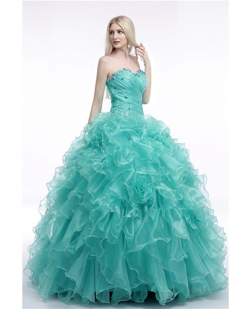 Turquoise Ball Gown Prom Dress With Cascading Ruffles For