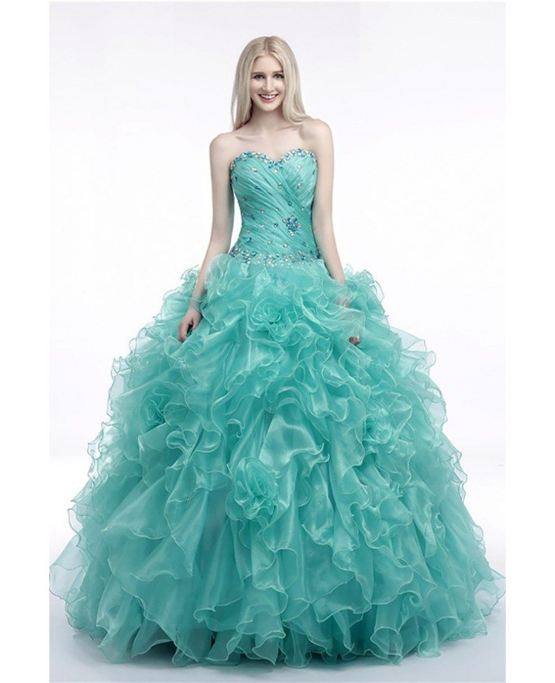 Turquoise Ball Gown Prom Dress With Cascading Ruffles For Juniors ...