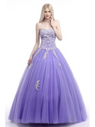 Corset Ball Gown Lavender Prom Dress With Lace Beading Bodice