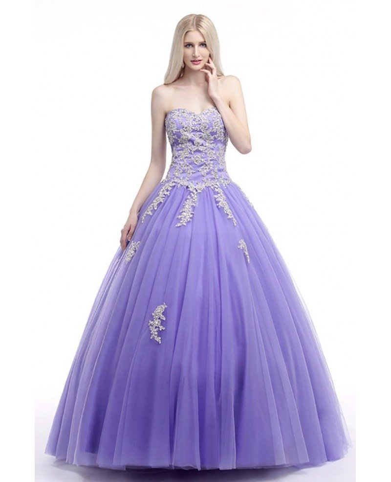 Corset Ball Gown Lavender Prom Dress With Lace Beading Bodice ...