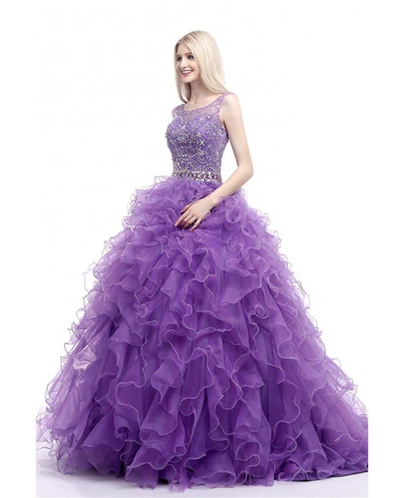 Cascading Ruffled Ball Gown Formal Dress Purple For 8th Grade Teens ...