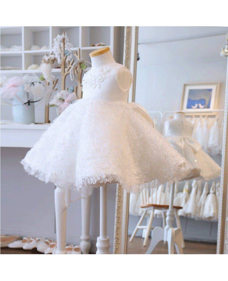 Super Cute Tutu Girls Wedding Dress White Flower Girl Dress For