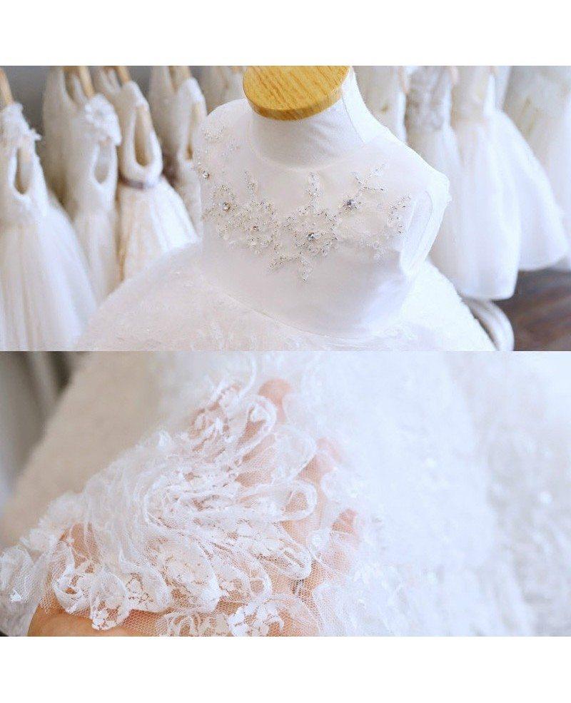 Super cute tutu girls wedding dress white flower girl for Cute white wedding dresses