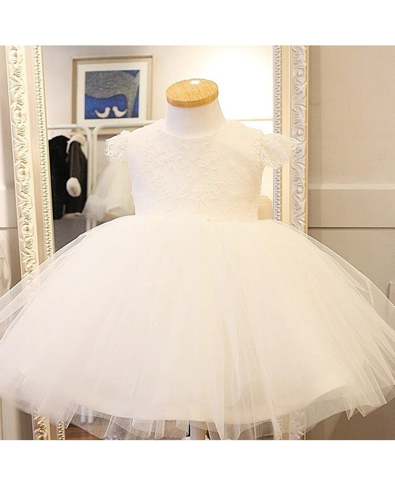 Cute white puffy toddler flower girl dress ballgown pageant dress mightylinksfo