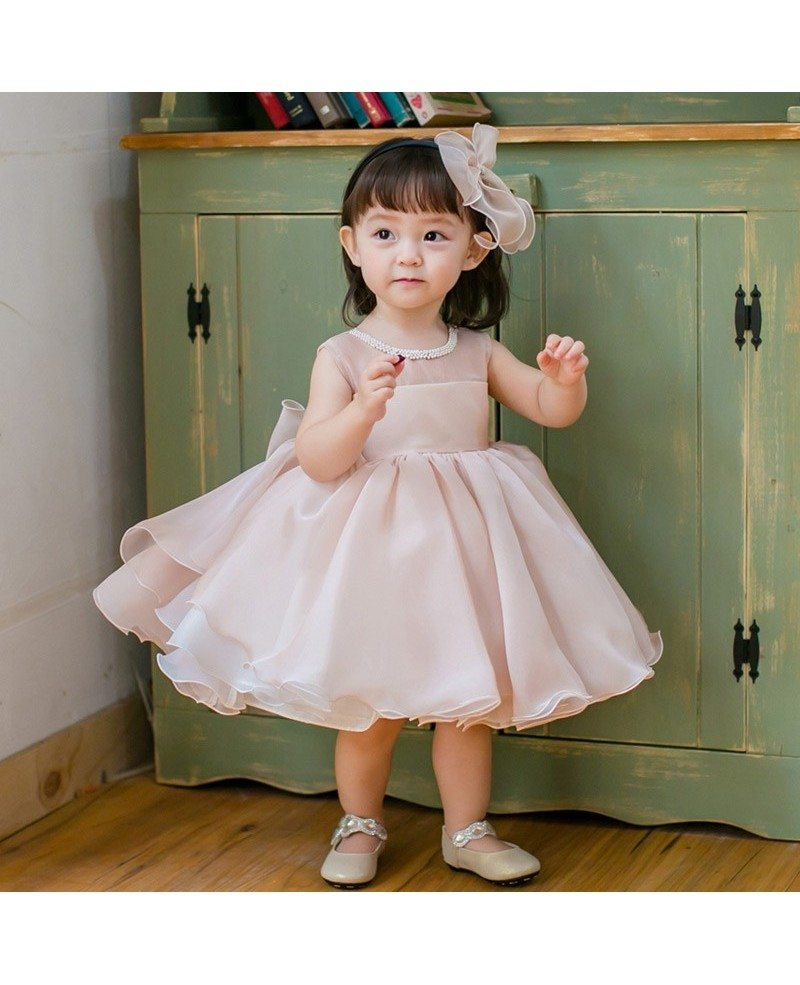 Blush Pink Cute Puffy Flower Girl Dress Baby Toddler Pageant Gown ...