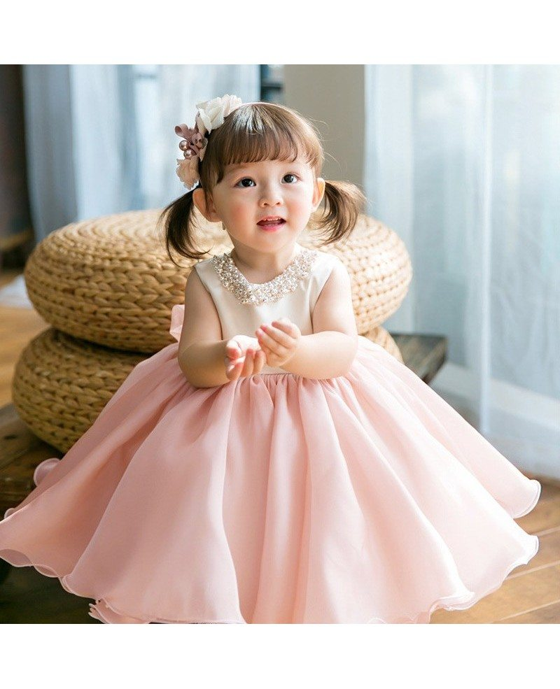 Couture Pink And White Ballgown Flower Girl Dress With Pearls