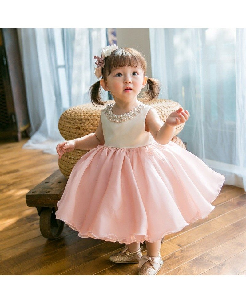 Couture Pink And White Ballgown Flower Girl Dress With Pearls ...