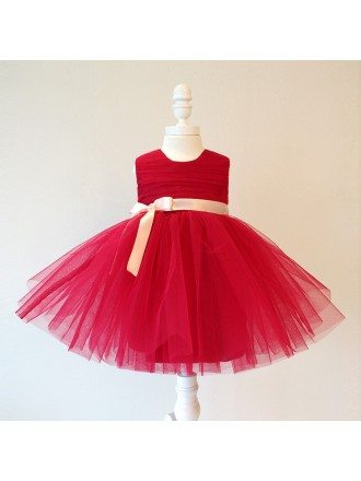 Burgundy Short Tutu Flower Girl Dress With Sash Pageant Gown For Girls